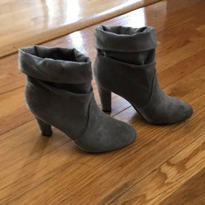 Express grey suede booties
